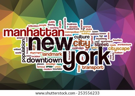 New York word cloud concept with abstract background - stock photo