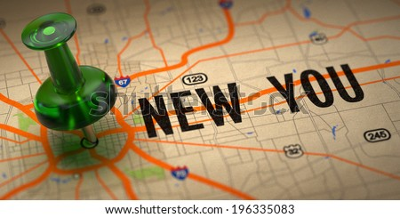 New You Concept - Green Pushpin on a Map Background with Selective Focus. - stock photo