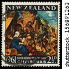 NEW ZEALAND - CIRCA 1961: A greeting Christmas stamp printed in New Zealand shows birth of Jesus Christ, adoration of the Magi, circa 1961 - stock photo