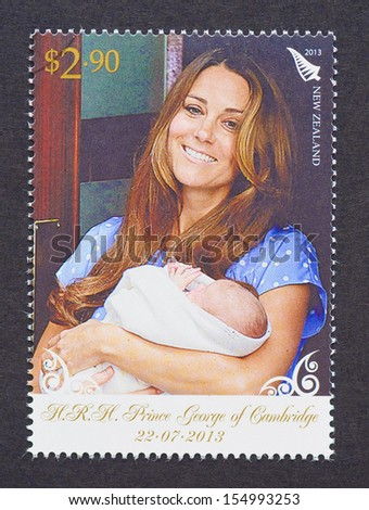 NEW ZEALAND - CIRCA 2013: a postage stamp printed in New Zealand  commemorative of Prince George birth the first child of Prince William and Kate Middleton, circa 2013.  - stock photo