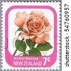 NEW ZEALAND - CIRCA 1975: A stamp printed in New Zealand shows Michele Meilland, series devoted to roses, circa 1975 - stock photo