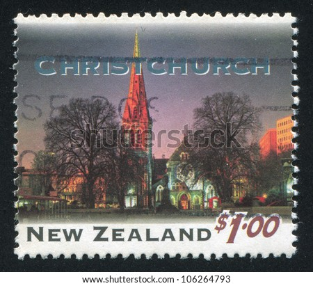 NEW ZEALAND - CIRCA 1995: stamp printed by New Zealand, shows New Zealand at Night, Christchurch, circa 1995 - stock photo