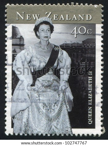 NEW ZEALAND - CIRCA 2001: stamp printed by New Zealand, shows Queen Elizabeth II, circa 2001 - stock photo