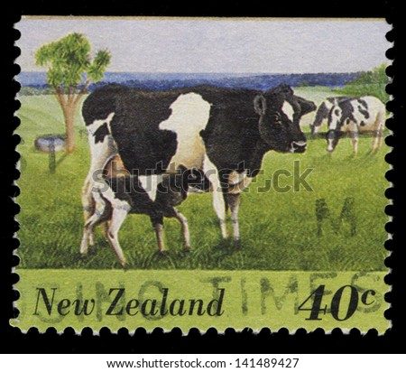 NEW ZEALAND - CIRCA 1995: stamp printed in New Zealand, shows Cow with Calf Grazing on the Lawn, circa 1995 - stock photo