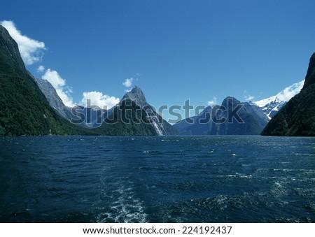 New Zealand, fjords - stock photo