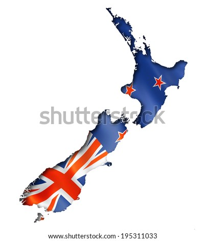 New Zealand flag map, three dimensional render, isolated on white - stock photo