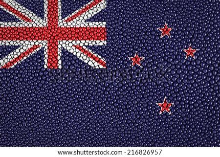 New zealand flag on stingray skin texture - stock photo