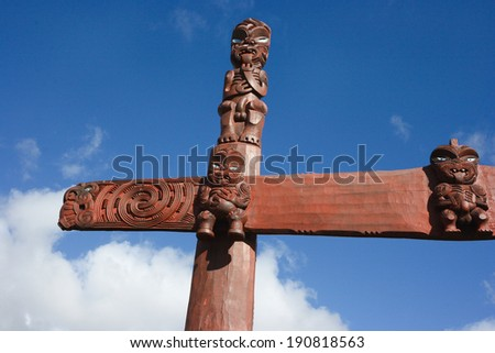 New Zealand maori traditional carving - stock photo