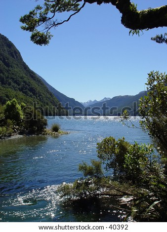 New Zealand mountain lake - stock photo