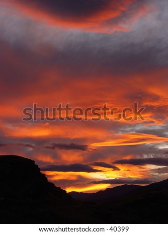 New Zealand mountain sunset - stock photo