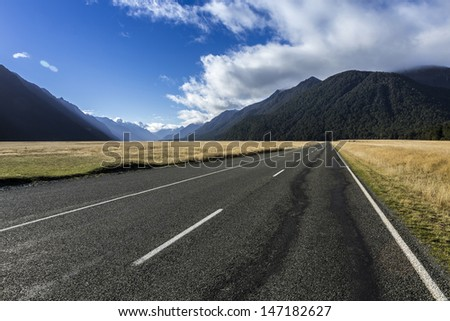 New Zealand Mountains along Milford Sound road - stock photo