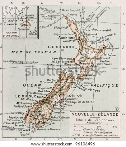 New Zealand old map. By Paul Vidal de Lablache, Atlas Classique, Librerie Colin, Paris, 1894 (first edition) - stock photo