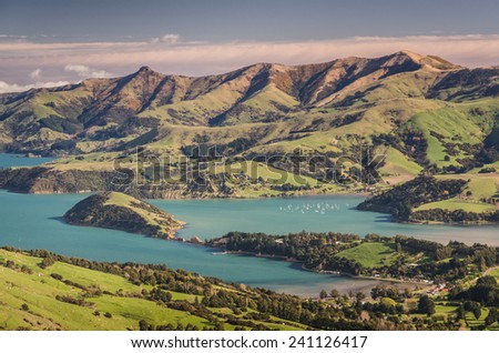 New Zealand pristine scenery before sunset  - stock photo