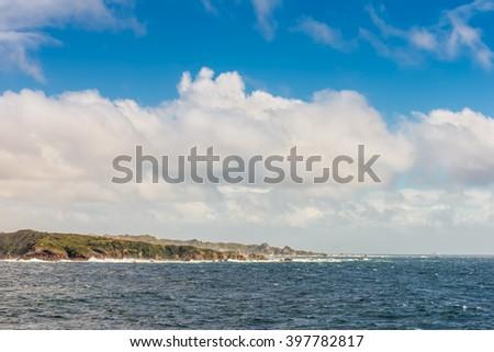 New Zealand scenic coastline landscape shot at Fiordland National Park - stock photo