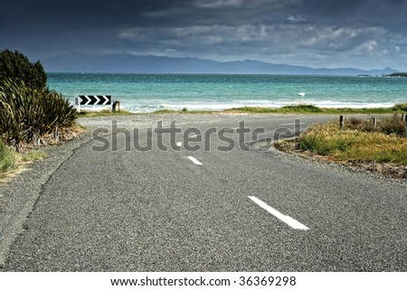 New Zealand Scenic Road - stock photo