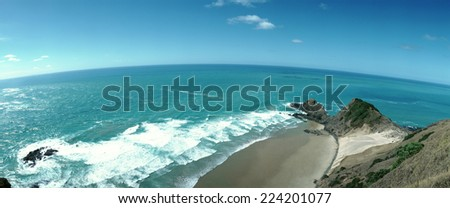 New Zealand, seascape, elevated view - stock photo