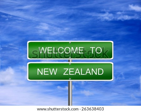 New Zealand welcome sign post travel immigration. - stock photo