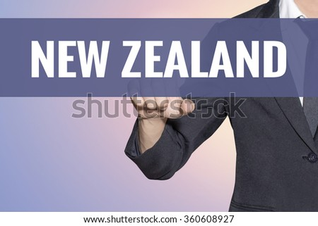 New Zealand word Business man touch on virtual screen soft sweet vintage background - stock photo