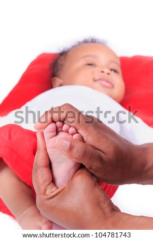 newborn baby african american foot black - stock photo