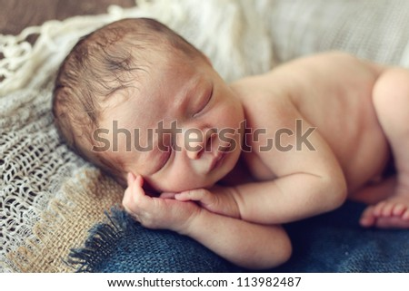 Newborn baby Boy - stock photo