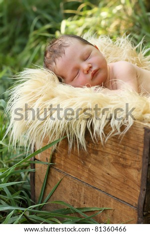 Newborn baby boy outside in box - stock photo