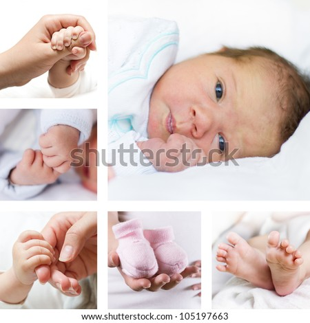 Newborn baby collection - stock photo