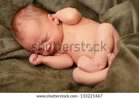 newborn baby, cute sleeping infant - stock photo