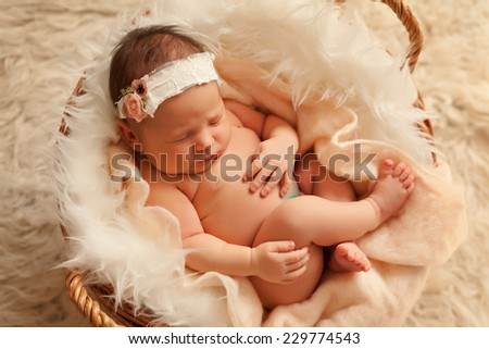 Newborn baby girl in basket - stock photo