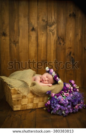 Newborn baby girl with a wreath in a wicker basket with a bouquet of purple wild flowers - stock photo