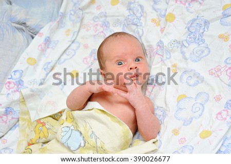 Newborn Baby in Bed - stock photo