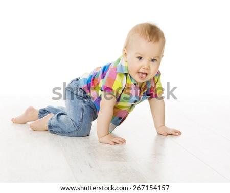 Newborn Baby Inside Basket, New Born Kid Dream in Woolen Hat, Little Child Boy Sleeping over Blue Background - stock photo