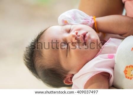 Newborn baby sleeping,20 days .  - stock photo