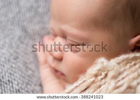 Newborn baby sleeping, portrait shot of face, macro of eye lashes - stock photo