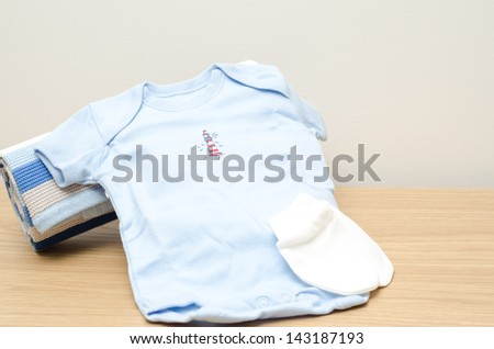 Newborn boy bodysuit - stock photo