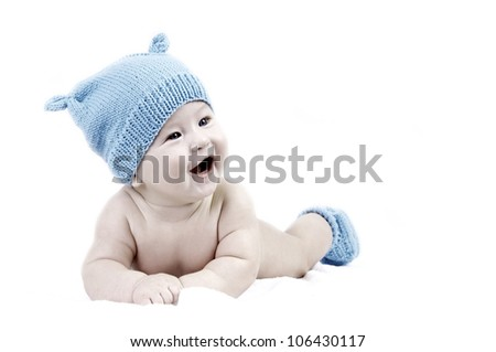Newborn happiness baby in the hat, isolater on the white background - stock photo