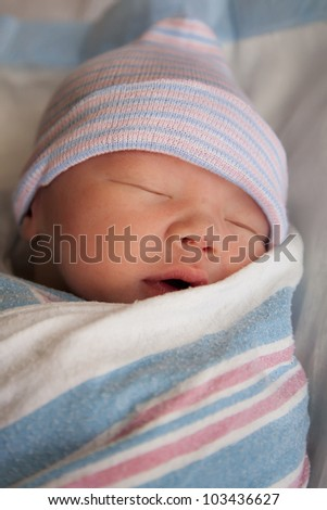 Newborn in deep sleep - stock photo