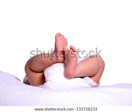 newborn in diaper - stock photo