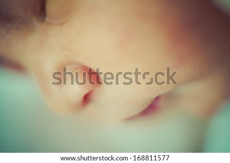Newborn peacefully sleeping, picture of a baby curled up sleeping on a blanket - stock photo