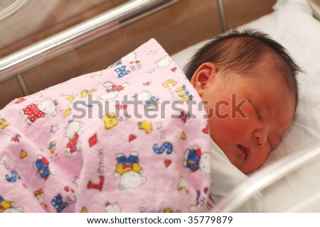 newborn sleeping - stock photo