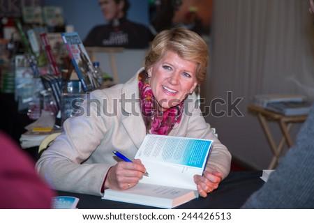 NEWBURY, UK - NOV 29: Clare Balding, BBC Sport commentator at the Hennessy Gold Cup, Newbury Racecourse, November 29, 2014 in Newbury, UK - stock photo
