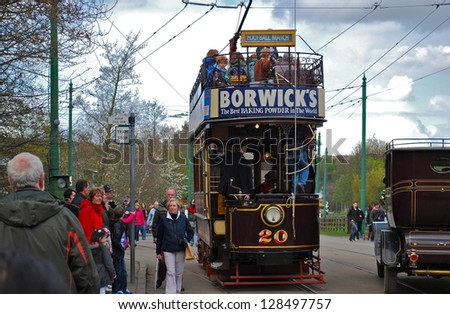 NEWCASTLE, ENGLAND - APRIL 5. The Great North Festival of Transport at Beamish Museum featured historic tramcars from Birkenhead on April 5, 2012, Newcastle, England. - stock photo