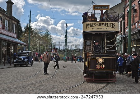 NEWCASTLE, ENGLAND - APRIL 5. The Great North Festival of Transport at Beamish Museum featured historic tramcars from various British cities on April 5, 2012, Newcastle, England. - stock photo