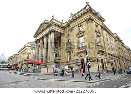 NEWCASTLE-UPON-TYNE , ENGLAND - AUGUST 20,2014: Theatre Royale, Grey Street, Newcastle. It is the most populous city in North East England and lies at the urban core of the Tyneside conurbation - stock photo