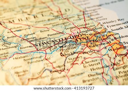 Newcastle upon Tyne, England on atlas world map - stock photo