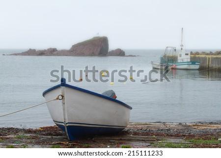 Newfoundland fishing boats - stock photo