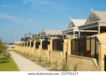 Newly build Australian houses in Badivis, Western Australia. - stock photo