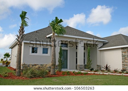 Newly built home in active adult community - stock photo