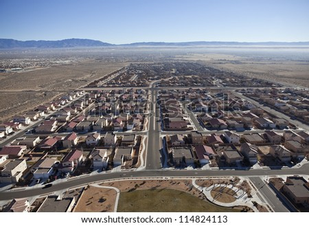Newly built suburban neighborhood in the western USA. - stock photo