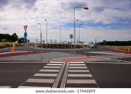 Newly built traffic circle - stock photo