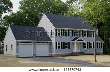 Newly completed Residential house and garage - stock photo